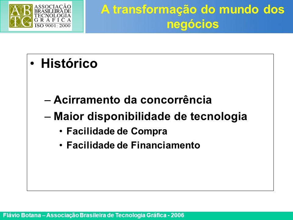Certificada ISO 9002 Flávio Botana – Associação Brasileira de Tecnologia Gráfica - 2006 Histórico –Acirramento da concorrência –Maior disponibilidade