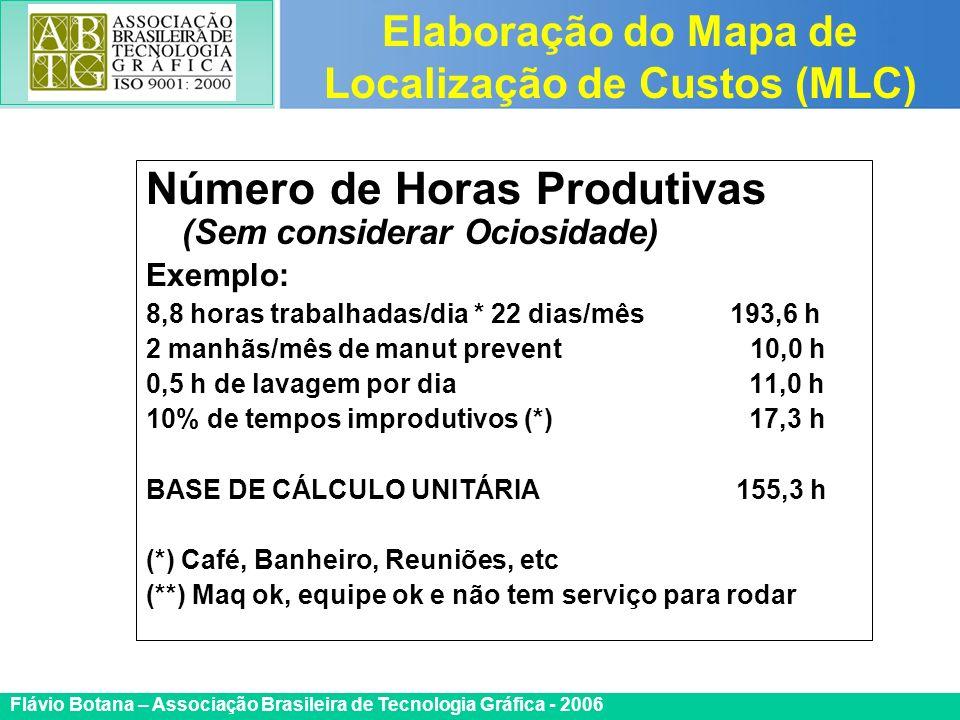 Certificada ISO 9002 Flávio Botana – Associação Brasileira de Tecnologia Gráfica - 2006 Número de Horas Produtivas (Sem considerar Ociosidade) Exemplo