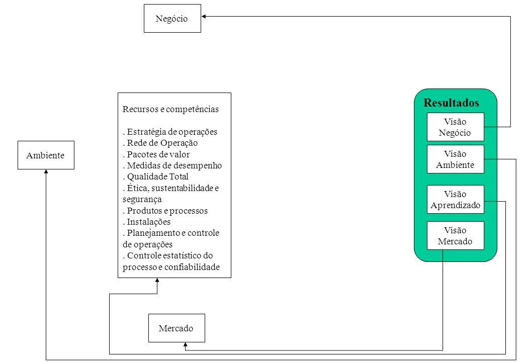 Visão Negócio Visão Ambiente Visão Aprendizado Visão Mercado Resultados Recursos e competências. Estratégia de operações. Rede de Operação. Pacotes de