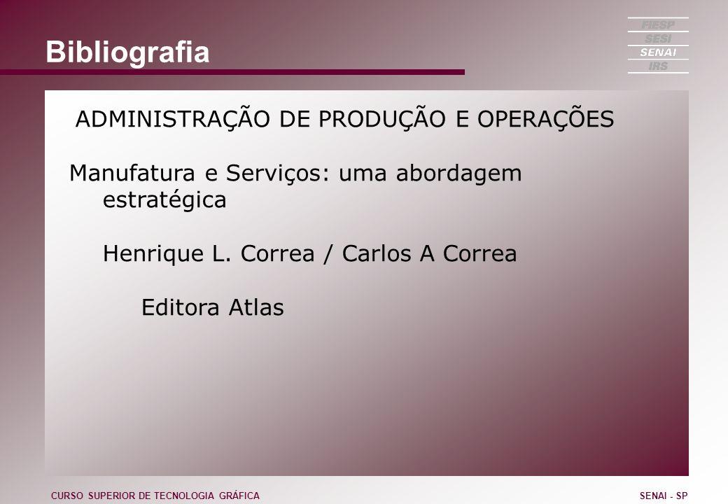 Bibliografia ADMINISTRAÇÃO DE PRODUÇÃO E OPERAÇÕES Manufatura e Serviços: uma abordagem estratégica Henrique L. Correa / Carlos A Correa Editora Atlas