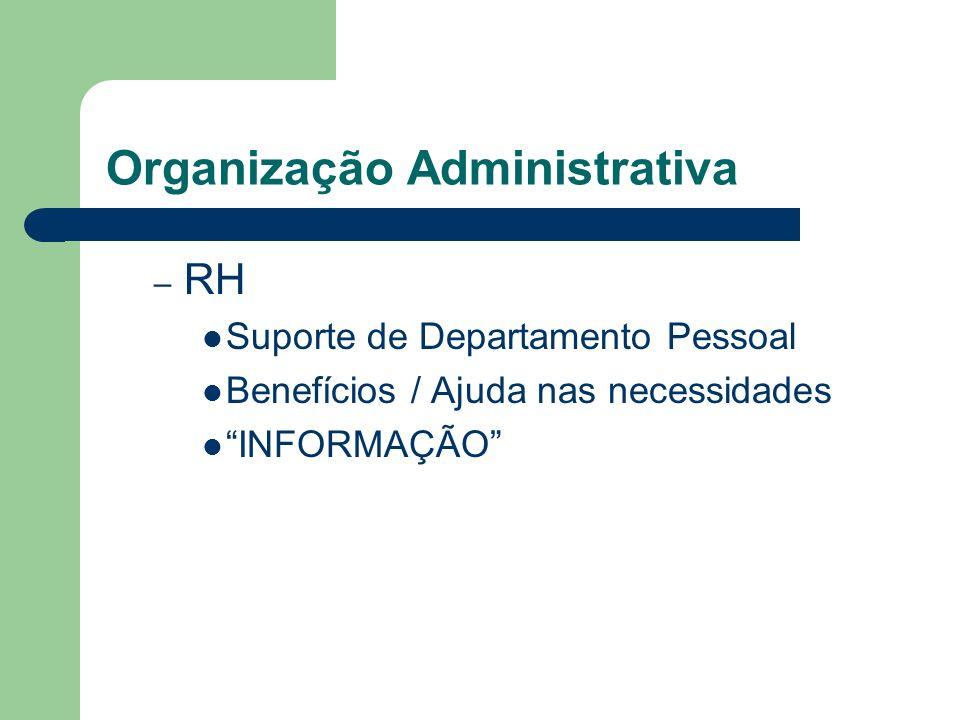 Organização Administrativa – RH Suporte de Departamento Pessoal Benefícios / Ajuda nas necessidades INFORMAÇÃO