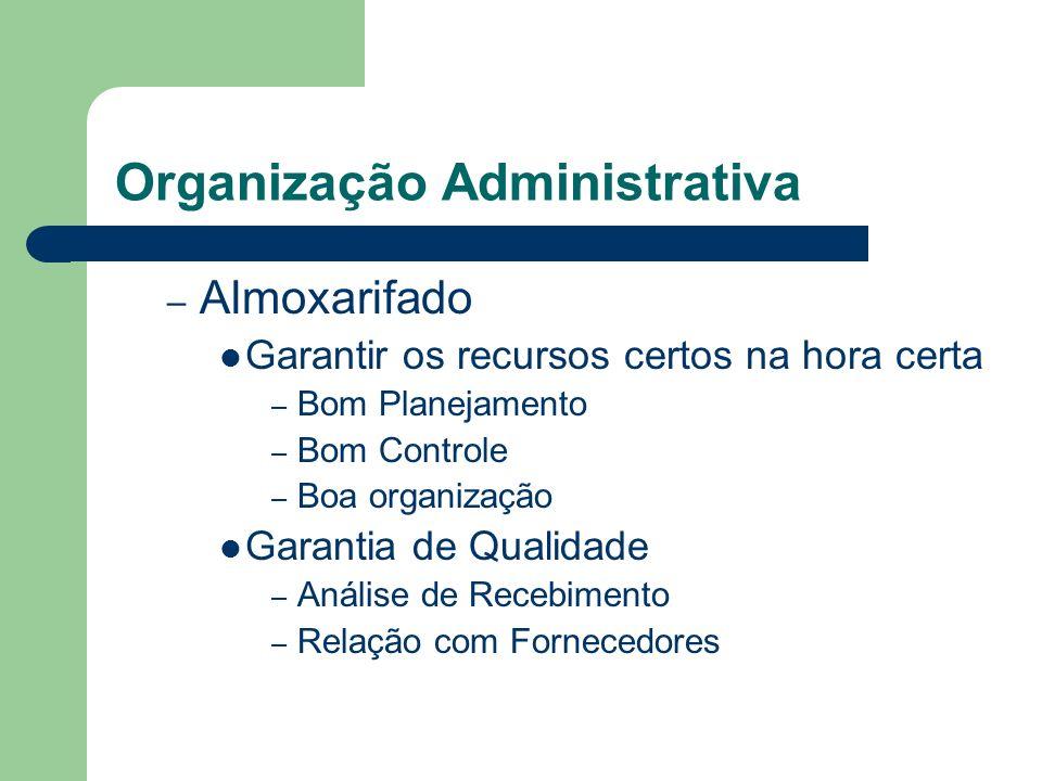 Organização Administrativa – Almoxarifado Garantir os recursos certos na hora certa – Bom Planejamento – Bom Controle – Boa organização Garantia de Qu