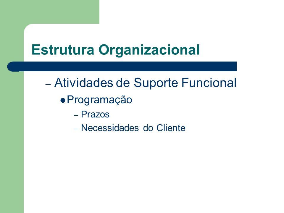 Estrutura Organizacional – Atividades de Suporte Funcional Programação – Prazos – Necessidades do Cliente