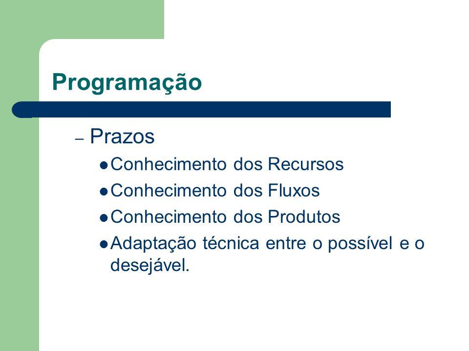 Programação – Prazos Conhecimento dos Recursos Conhecimento dos Fluxos Conhecimento dos Produtos Adaptação técnica entre o possível e o desejável.