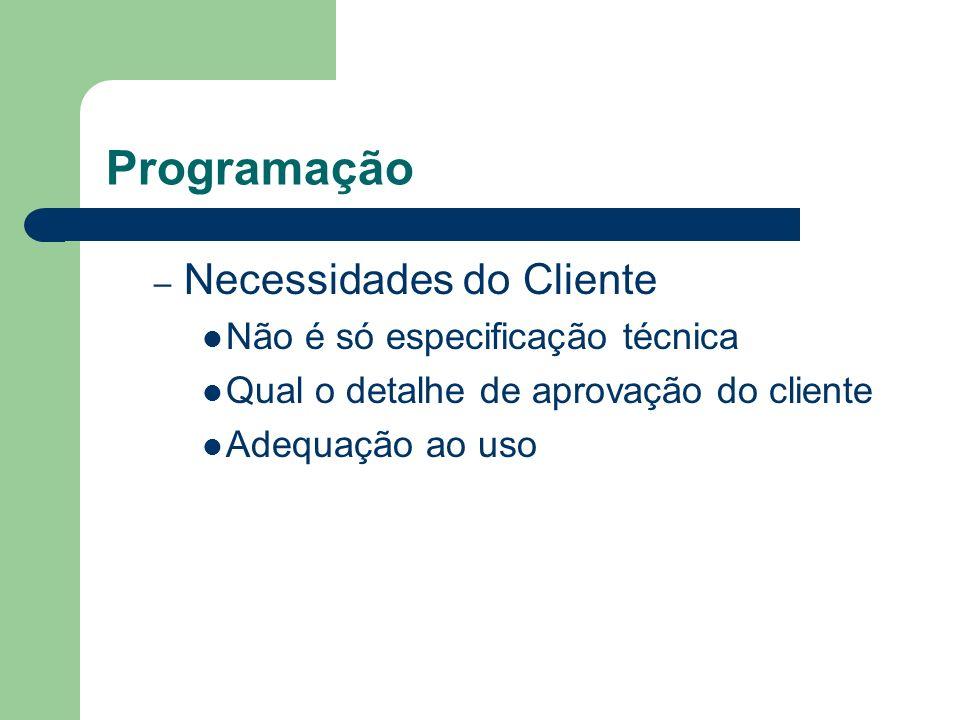 Programação – Necessidades do Cliente Não é só especificação técnica Qual o detalhe de aprovação do cliente Adequação ao uso