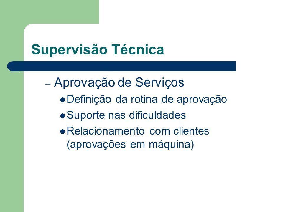 Supervisão Técnica – Aprovação de Serviços Definição da rotina de aprovação Suporte nas dificuldades Relacionamento com clientes (aprovações em máquin