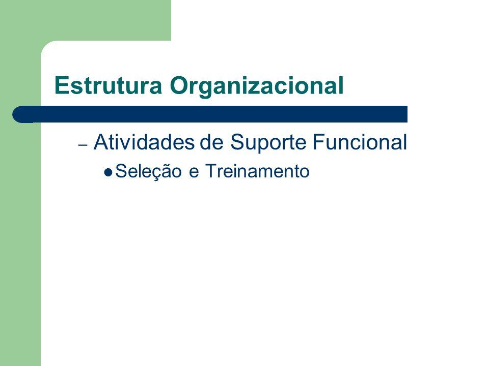 Estrutura Organizacional – Atividades de Suporte Funcional Seleção e Treinamento
