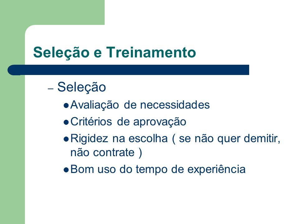 – Seleção Avaliação de necessidades Critérios de aprovação Rigidez na escolha ( se não quer demitir, não contrate ) Bom uso do tempo de experiência