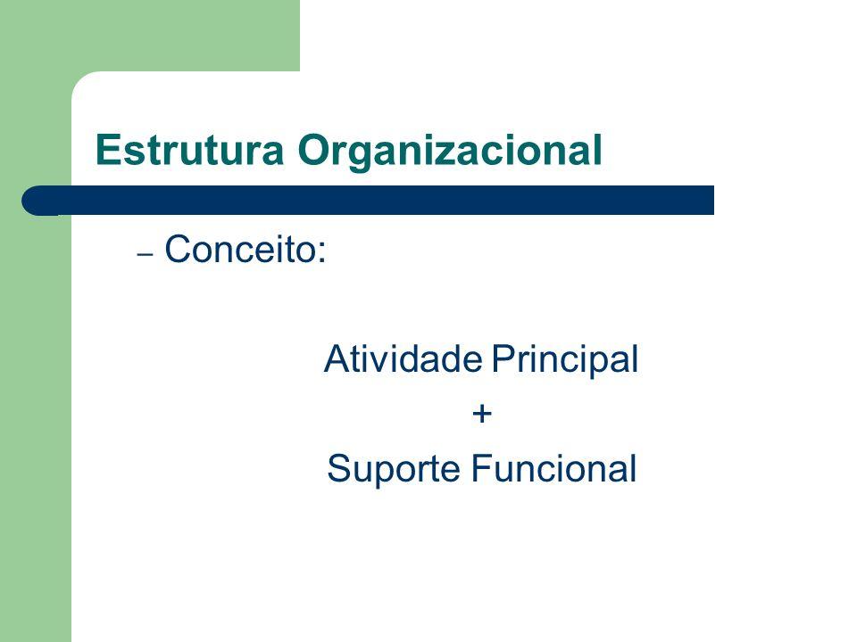 Estrutura Organizacional – Conceito: Atividade Principal + Suporte Funcional