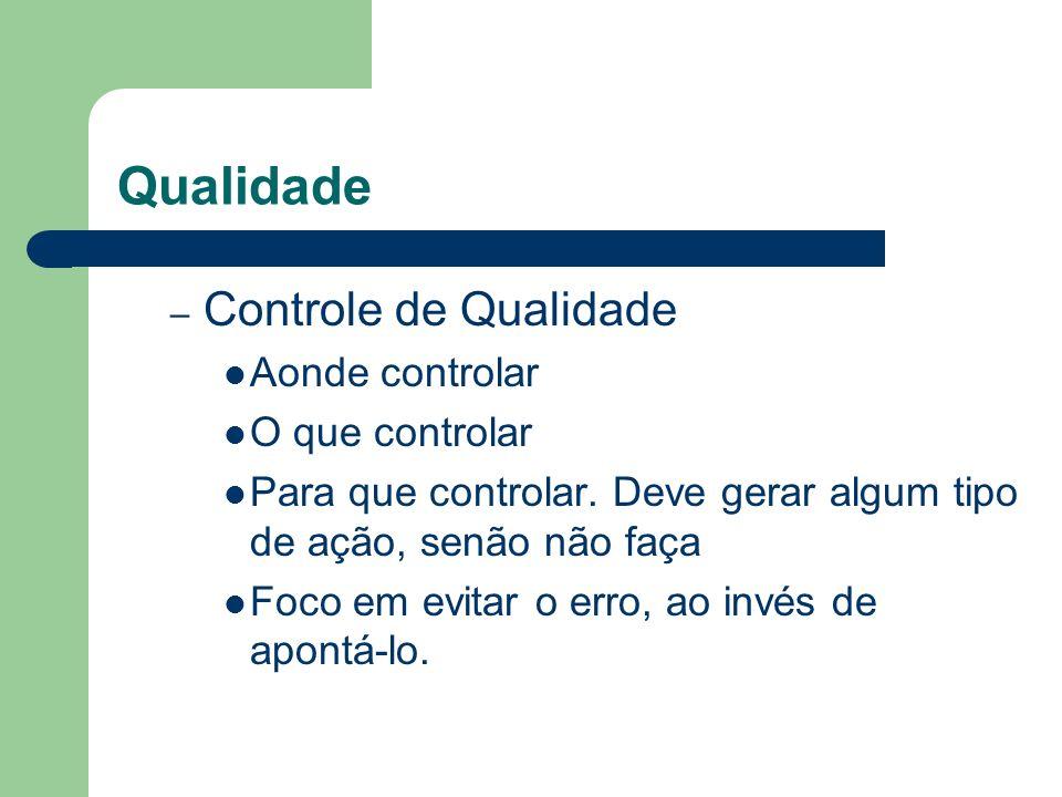 Qualidade – Controle de Qualidade Aonde controlar O que controlar Para que controlar. Deve gerar algum tipo de ação, senão não faça Foco em evitar o e
