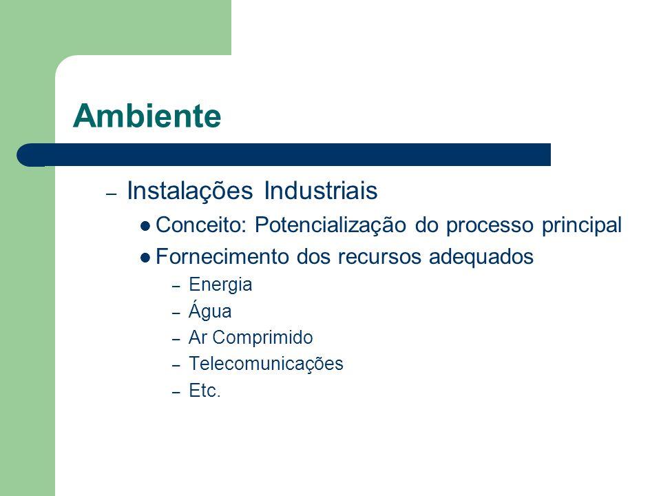 Ambiente – Instalações Industriais Conceito: Potencialização do processo principal Fornecimento dos recursos adequados – Energia – Água – Ar Comprimid