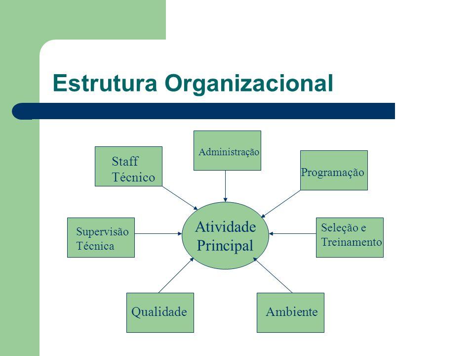 Estrutura Organizacional Atividade Principal Staff Técnico Administração Programação Supervisão Técnica Seleção e Treinamento QualidadeAmbiente