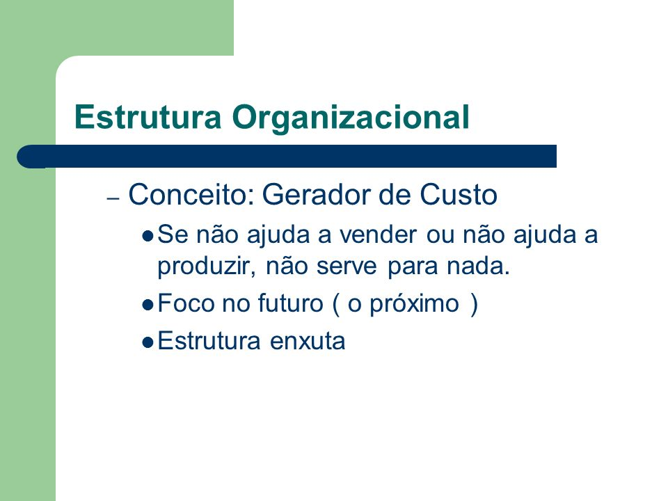 Estrutura Organizacional – Conceito: Gerador de Custo Se não ajuda a vender ou não ajuda a produzir, não serve para nada. Foco no futuro ( o próximo )