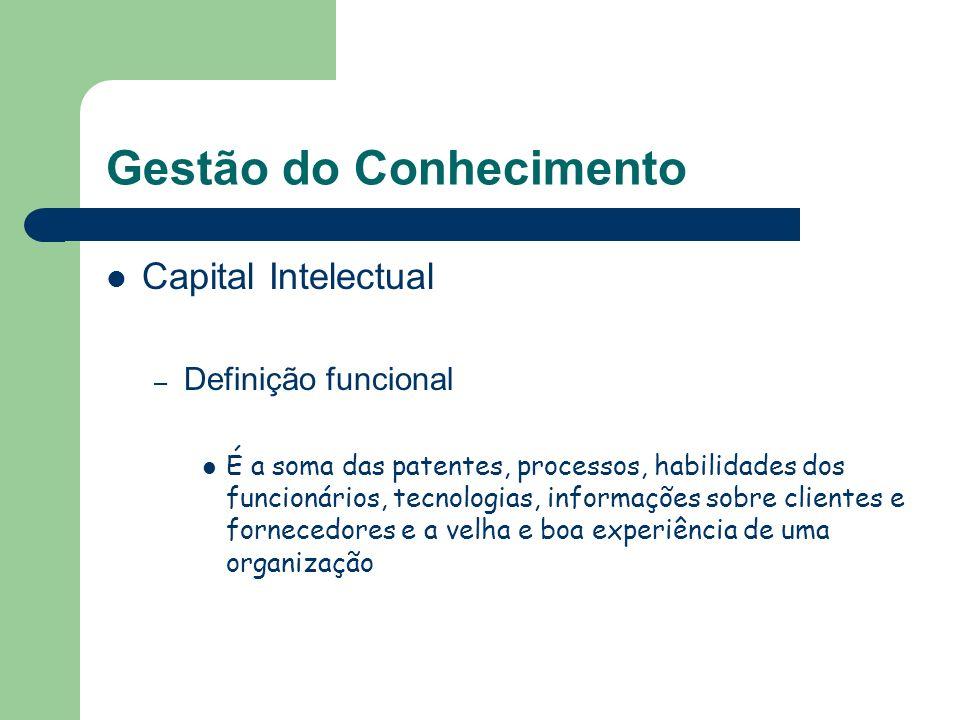 Gestão do Conhecimento Capital Intelectual – Definição funcional É a soma das patentes, processos, habilidades dos funcionários, tecnologias, informaç