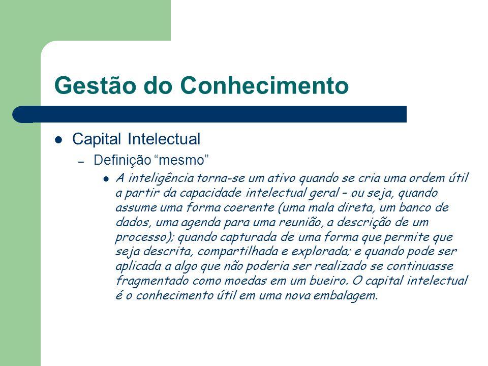 Gestão do Conhecimento Capital Intelectual – Definição mesmo A inteligência torna-se um ativo quando se cria uma ordem útil a partir da capacidade int