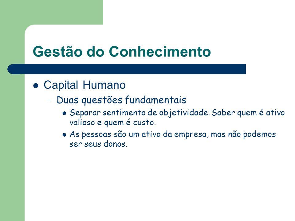 Gestão do Conhecimento Capital Humano – Duas questões fundamentais Separar sentimento de objetividade. Saber quem é ativo valioso e quem é custo. As p