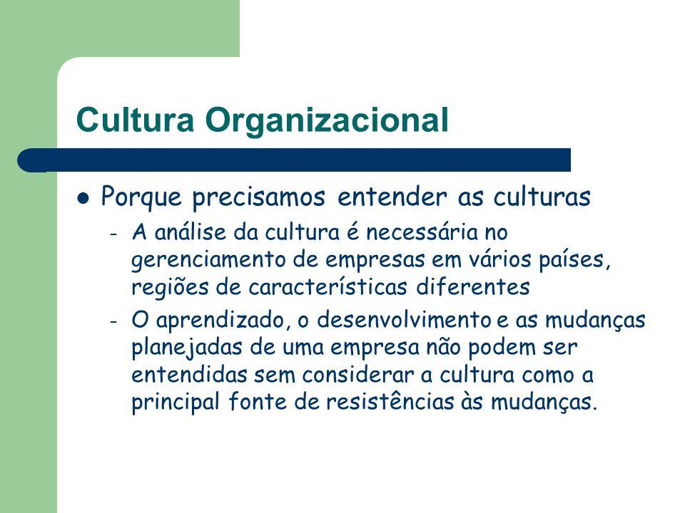 Cultura Organizacional Porque precisamos entender as culturas – A análise da cultura é necessária no gerenciamento de empresas em vários países, regiõ