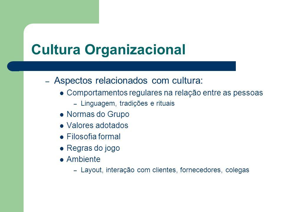Cultura Organizacional – Aspectos relacionados com cultura: Comportamentos regulares na relação entre as pessoas – Linguagem, tradições e rituais Norm