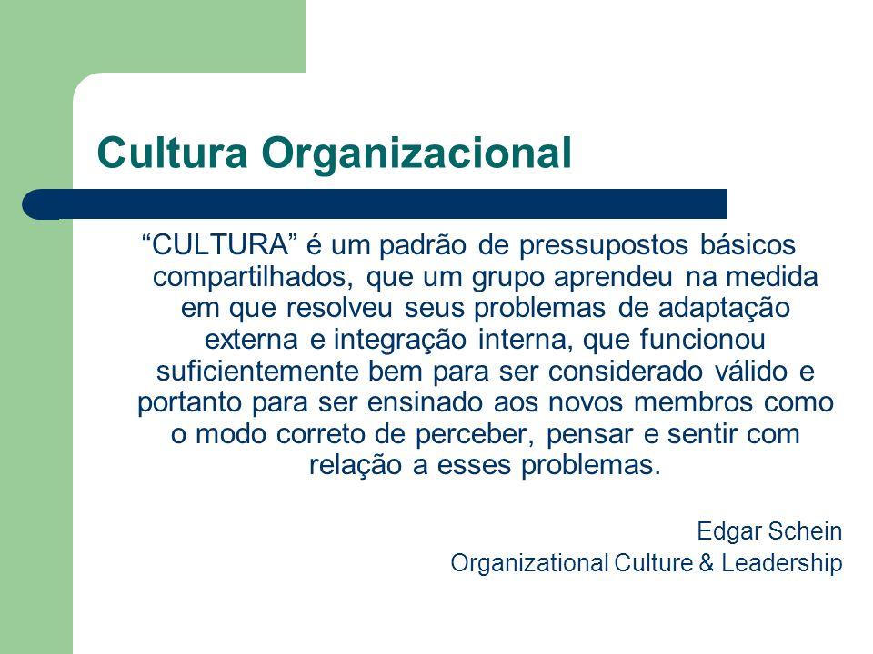 Cultura Organizacional CULTURA é um padrão de pressupostos básicos compartilhados, que um grupo aprendeu na medida em que resolveu seus problemas de a