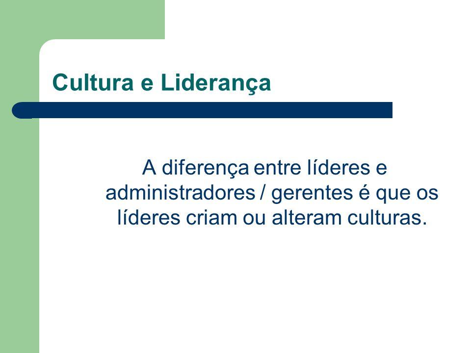 Cultura e Liderança A diferença entre líderes e administradores / gerentes é que os líderes criam ou alteram culturas.