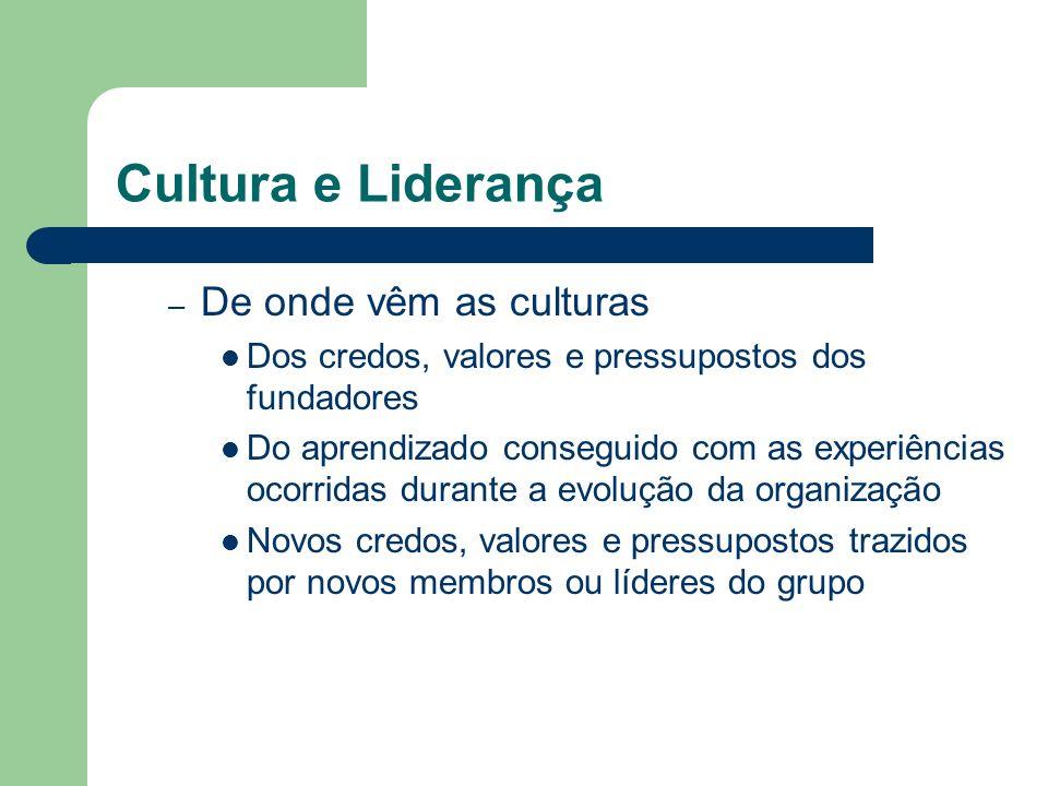 Cultura e Liderança – De onde vêm as culturas Dos credos, valores e pressupostos dos fundadores Do aprendizado conseguido com as experiências ocorrida