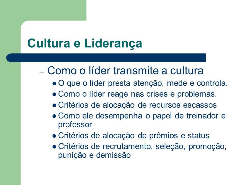 Cultura e Liderança – Como o líder transmite a cultura O que o líder presta atenção, mede e controla. Como o líder reage nas crises e problemas. Crité