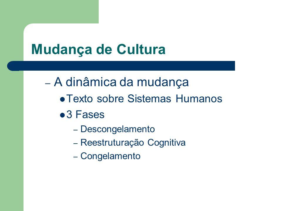 Mudança de Cultura – A dinâmica da mudança Texto sobre Sistemas Humanos 3 Fases – Descongelamento – Reestruturação Cognitiva – Congelamento