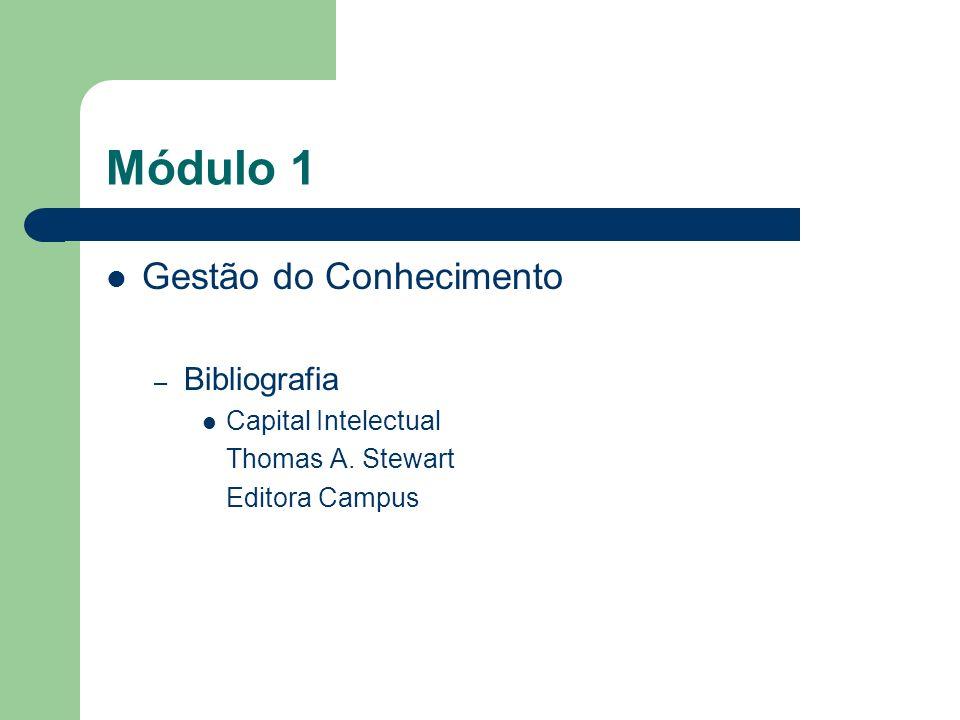 Módulo 1 Gestão do Conhecimento – Bibliografia Capital Intelectual Thomas A. Stewart Editora Campus
