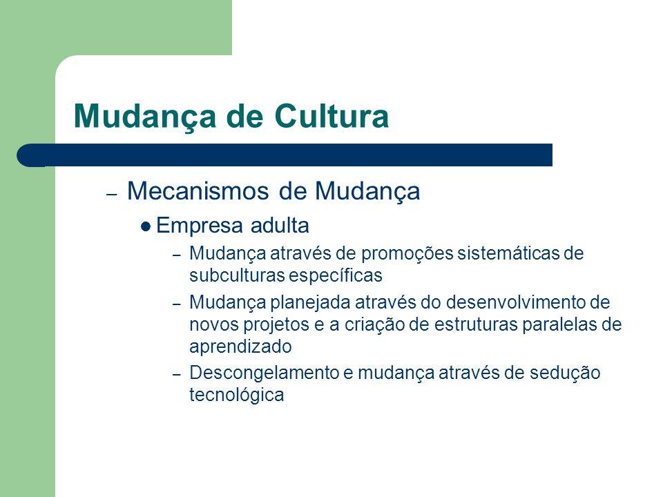 Mudança de Cultura – Mecanismos de Mudança Empresa adulta – Mudança através de promoções sistemáticas de subculturas específicas – Mudança planejada a