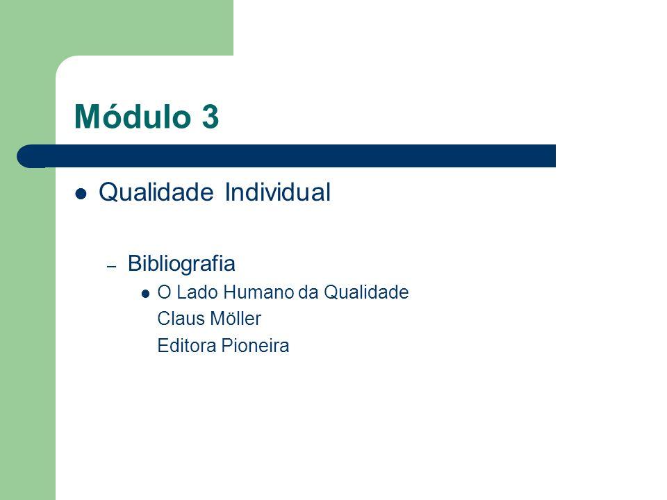 Módulo 3 Qualidade Individual – Bibliografia O Lado Humano da Qualidade Claus Möller Editora Pioneira