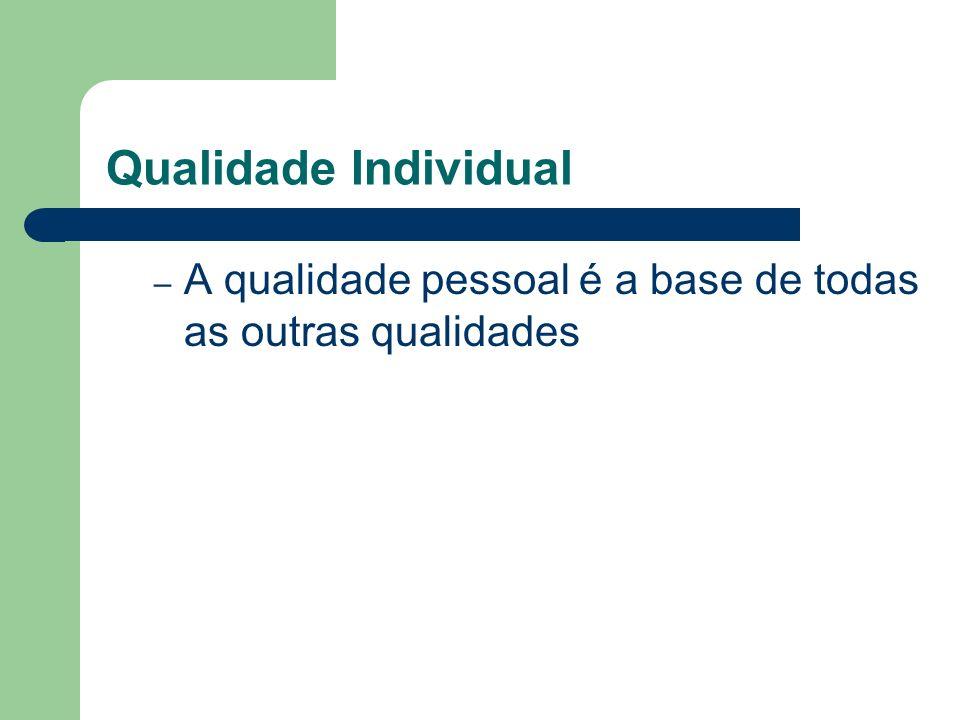 Qualidade Individual – A qualidade pessoal é a base de todas as outras qualidades