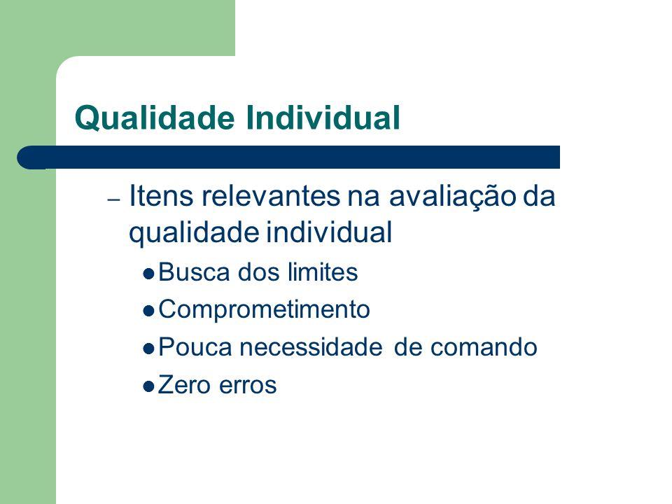 Qualidade Individual – Itens relevantes na avaliação da qualidade individual Busca dos limites Comprometimento Pouca necessidade de comando Zero erros