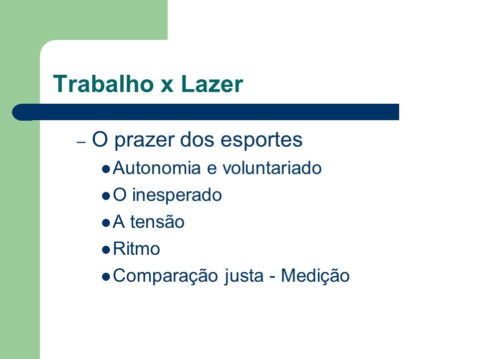 Trabalho x Lazer – O prazer dos esportes Autonomia e voluntariado O inesperado A tensão Ritmo Comparação justa - Medição