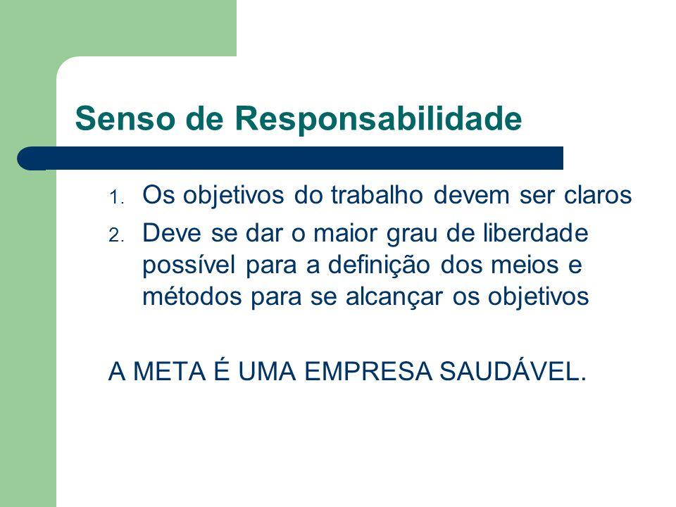 Senso de Responsabilidade 1. Os objetivos do trabalho devem ser claros 2. Deve se dar o maior grau de liberdade possível para a definição dos meios e