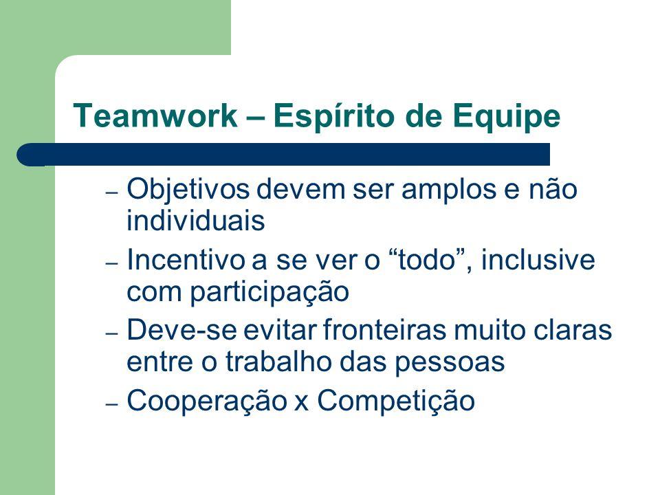Teamwork – Espírito de Equipe – Objetivos devem ser amplos e não individuais – Incentivo a se ver o todo, inclusive com participação – Deve-se evitar