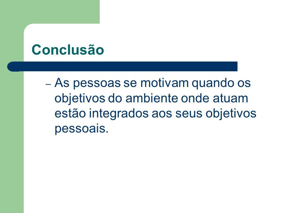 Conclusão – As pessoas se motivam quando os objetivos do ambiente onde atuam estão integrados aos seus objetivos pessoais.
