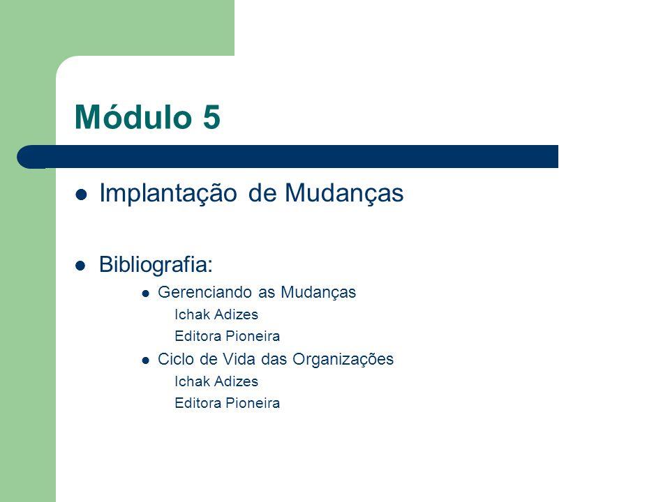 Módulo 5 Implantação de Mudanças Bibliografia: Gerenciando as Mudanças Ichak Adizes Editora Pioneira Ciclo de Vida das Organizações Ichak Adizes Edito