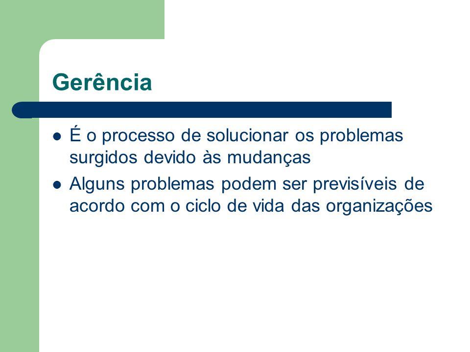 Gerência É o processo de solucionar os problemas surgidos devido às mudanças Alguns problemas podem ser previsíveis de acordo com o ciclo de vida das