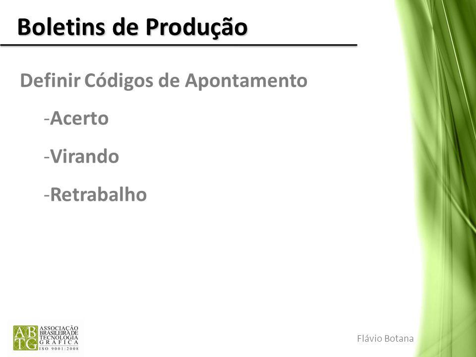 Boletins de Produção Definir Códigos de Apontamento -Acerto -Virando -Retrabalho Flávio Botana