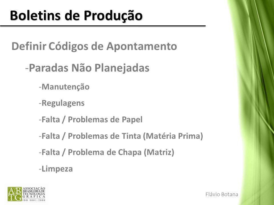 Boletins de Produção Definir Códigos de Apontamento -Paradas Não Planejadas -Manutenção -Regulagens -Falta / Problemas de Papel -Falta / Problemas de