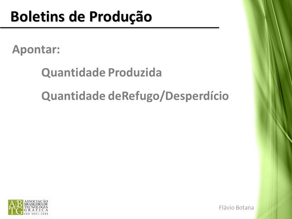 Boletins de Produção Apontar: Quantidade Produzida Quantidade deRefugo/Desperdício Flávio Botana