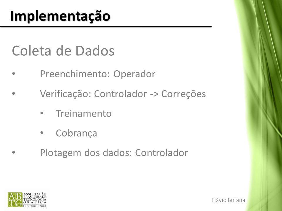 Implementação Coleta de Dados Preenchimento: Operador Verificação: Controlador -> Correções Treinamento Cobrança Plotagem dos dados: Controlador Flávi
