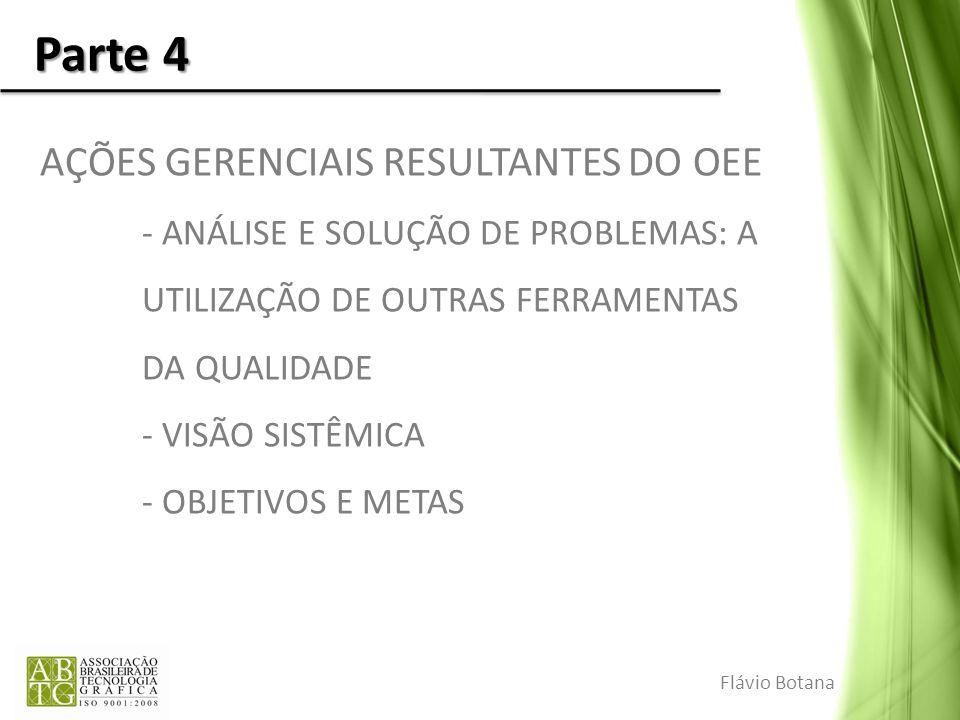 Parte 4 AÇÕES GERENCIAIS RESULTANTES DO OEE - ANÁLISE E SOLUÇÃO DE PROBLEMAS: A UTILIZAÇÃO DE OUTRAS FERRAMENTAS DA QUALIDADE - VISÃO SISTÊMICA - OBJE