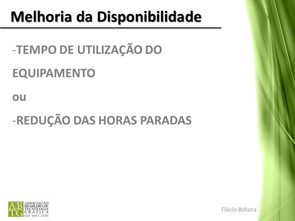 Melhoria da Disponibilidade -TEMPO DE UTILIZAÇÃO DO EQUIPAMENTO ou -REDUÇÃO DAS HORAS PARADAS Flávio Botana