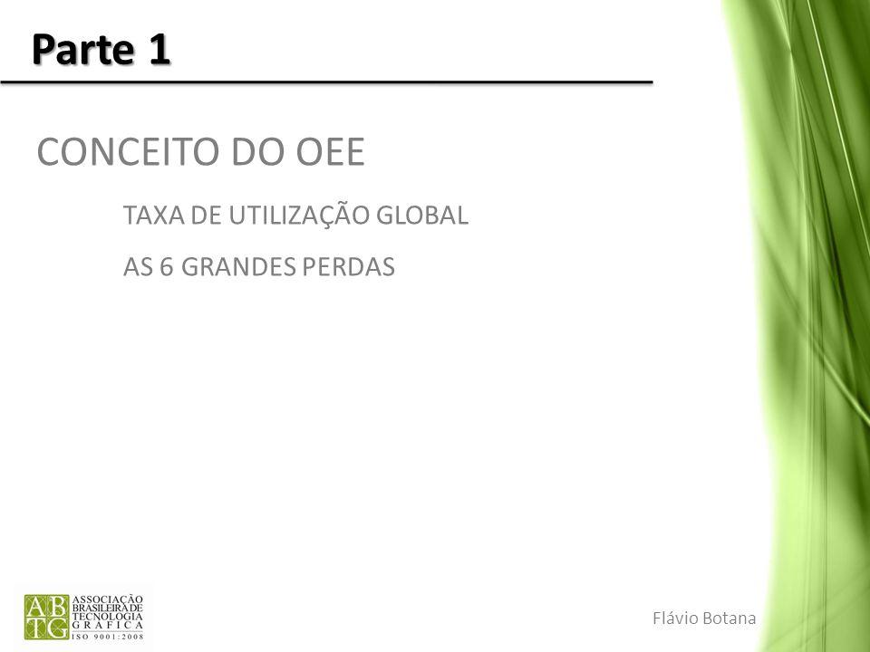 Parte 1 CONCEITO DO OEE TAXA DE UTILIZAÇÃO GLOBAL AS 6 GRANDES PERDAS Flávio Botana
