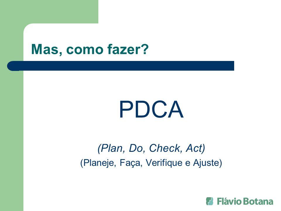 Mas, como fazer? PDCA (Plan, Do, Check, Act) (Planeje, Faça, Verifique e Ajuste)