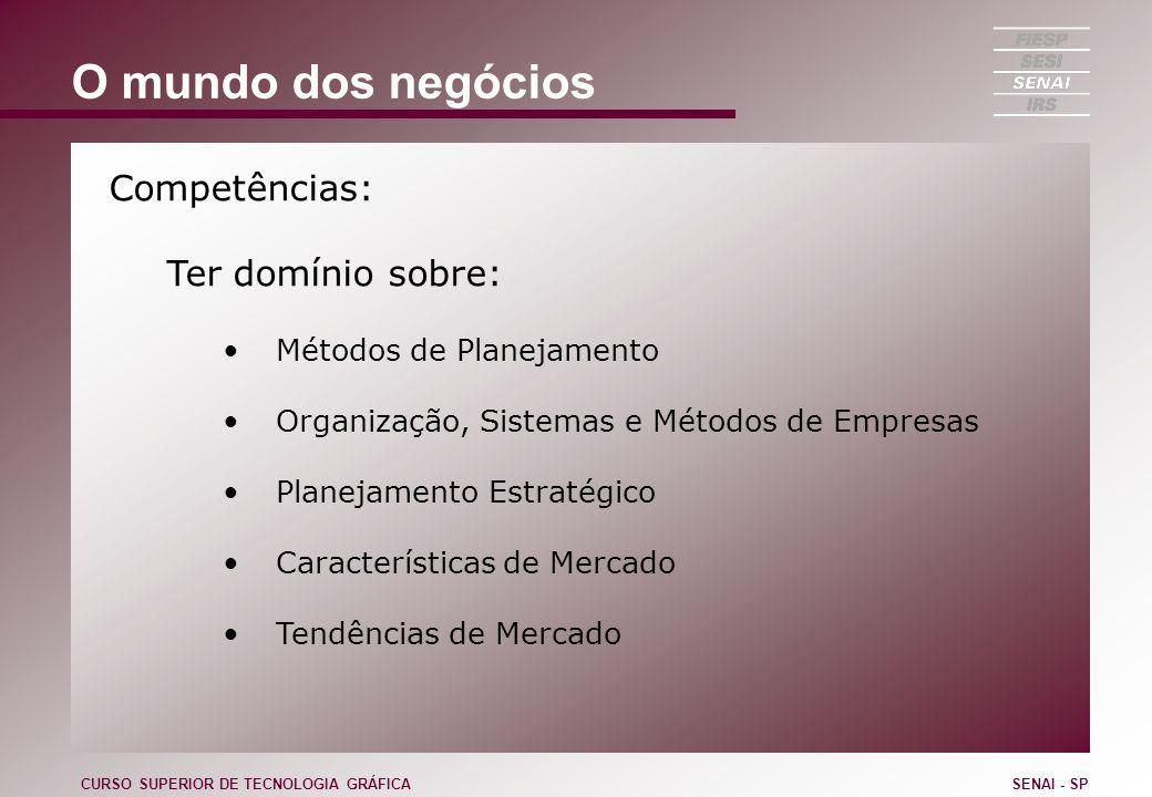 O mundo dos negócios Competências: Ter domínio sobre: Métodos de Planejamento Organização, Sistemas e Métodos de Empresas Planejamento Estratégico Car