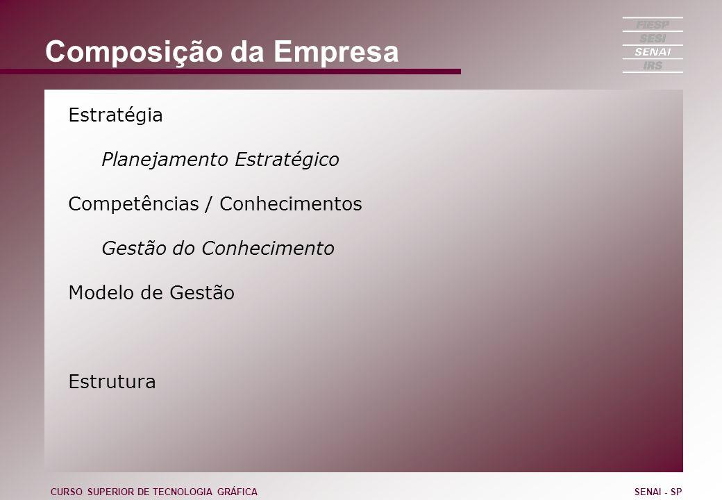 Composição da Empresa Estratégia Planejamento Estratégico Competências / Conhecimentos Gestão do Conhecimento Modelo de Gestão Estrutura CURSO SUPERIO