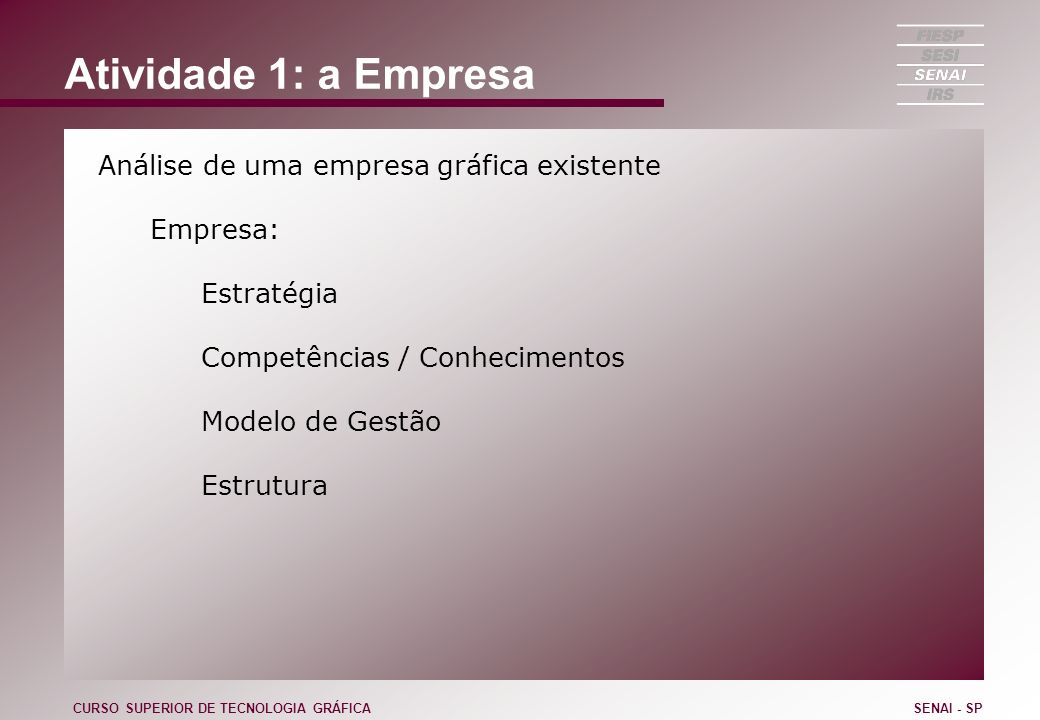 Atividade 1: a Empresa Análise de uma empresa gráfica existente Empresa: Estratégia Competências / Conhecimentos Modelo de Gestão Estrutura CURSO SUPE