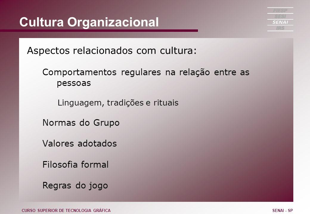 Cultura Organizacional Aspectos relacionados com cultura: Comportamentos regulares na relação entre as pessoas Linguagem, tradições e rituais Normas d